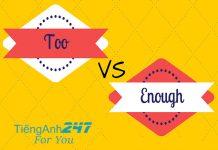 Sự khác nhau giữa very, too và enough